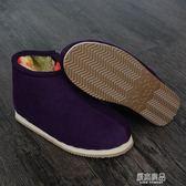 冬季辦公室男女士保暖鞋 手工家居月子毛毛鞋 防滑加厚高筒老棉鞋    原本良品