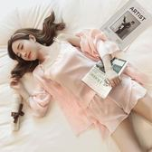 睡衣女夏季冰絲吊帶薄款短袖短褲家居服韓版性感絲綢兩件套裝睡衣   mandyc衣間