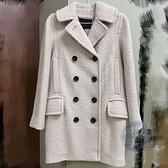 BRAND楓月 COACH 蔻馳 F86051 翻領 雙排釦 毛呢大衣 外套 風衣 #XS 51%聚脂纖維 49%羊毛