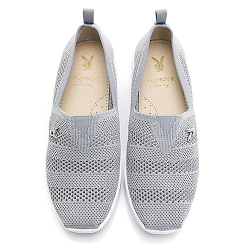 PLAYBOY 活力核心 透氣網布鏤空休閒鞋-灰(Y6262)