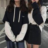 長袖上衣秋季韓版女裝復古chic拼接假兩件上衣外套字母印花長袖連帽衛衣全館免運 二度3C