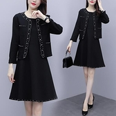 兩件套外套內搭裙中大尺碼L-5XL新款大碼小香風釘珠兩件套連身裙4F004-9393.