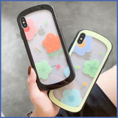 蘋果 XR XS i8 Plus XS MAX iX i7 Plus I6S+ 多彩花朵透底玻璃殼 手機殼 全包邊 保護殼