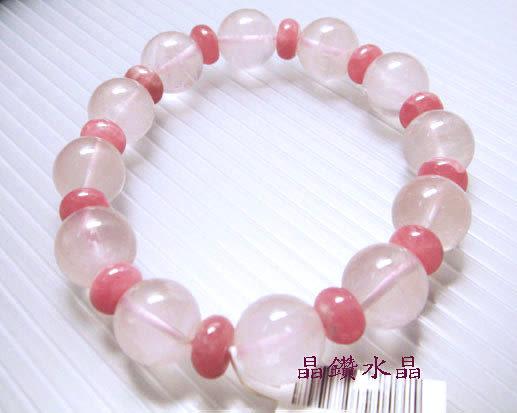 『晶鑽水晶』粉晶(芙蓉晶)搭配紅紋石(菱錳礦)手鍊-超級正能量的愛情-情人節禮物*免運費