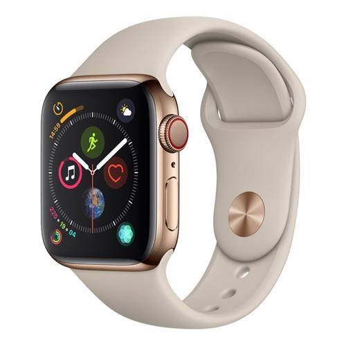 Apple Watch Series 4 (GPS + 行動網路),40 公釐金色不鏽鋼錶殼搭配石色運動型錶帶
