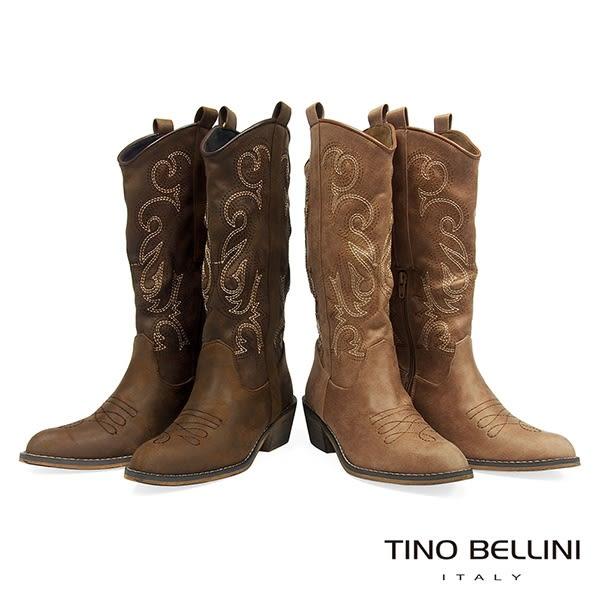 Tino Bellini 仿舊牛仔風電繡圖騰中筒靴 _ 棕 FS8508