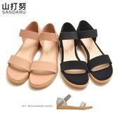 大尺碼鞋 一字帶鬆緊繞踝平底涼鞋