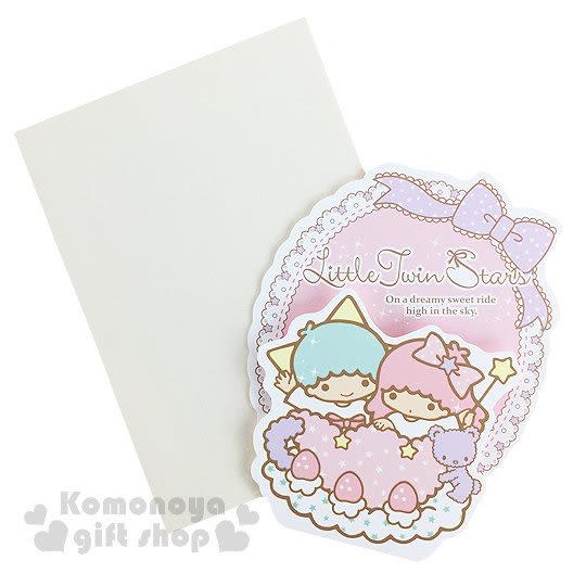 〔小禮堂〕雙子星 造型萬用卡片《迷你.蕾絲花邊.紫色小熊》附信封 4714581-18248