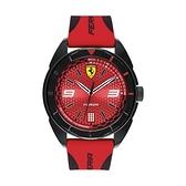 【Ferrari 法拉利】FORZA賽車胎紋面盤設計簡約橡膠腕錶-搶眼紅/FA0830517/台灣總代理公司貨享兩年保固