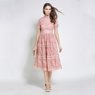 短袖連身裙-鏤空蕾絲修身優雅女洋裝3色74ae20【巴黎精品】