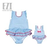 弈姿兒童泳衣女 連體女童泳衣裙式寶寶嬰兒可愛游泳衣泡溫泉泳裝