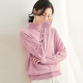 羊毛針織衫-高領純色釘珠鏤空保暖女毛衣3色73uj33【巴黎精品】