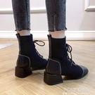 馬丁靴女鞋子2021潮鞋新款秋鞋系帶英倫風彈力襪靴粗跟百搭短靴子 夏季新品