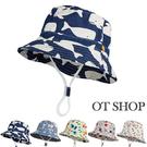 OT SHOP [現貨]男女童帽子 漁夫帽 遮陽帽 盆帽 童趣卡通圖案 動物 鯨魚 小星星 小碎花 防曬 C5044