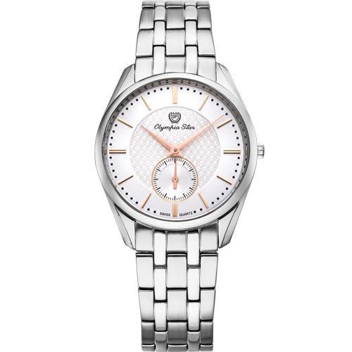Olympia Star 奧林比亞之星 經典都會系列小秒針時尚計時腕錶(品味白)36mm