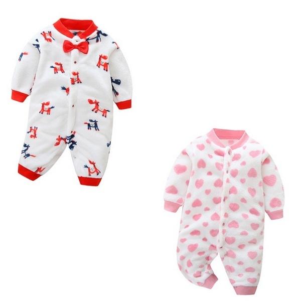 長袖連身衣 愛心動物 法蘭絨兔裝 嬰兒長袖連身裝 XIS2954 好娃娃