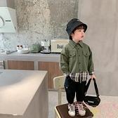 時尚工裝風上衣寶寶韓版兒童拼接襯衫男【聚可愛】