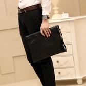 男手拿包  韓版男士時尚手包手工編織男女信封包手拿包手抓包A4文件包ipad包