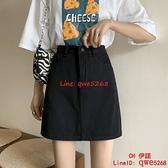 高腰牛仔短裙女新款a字裙顯瘦百搭大碼黑色包臀半身裙子【CH伊諾】