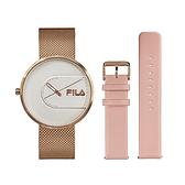【FILA 斐樂】簡約設計腕錶錶帶套組-玫瑰金x粉/38-178-002-SET B/台灣總代理公司貨享兩年保固