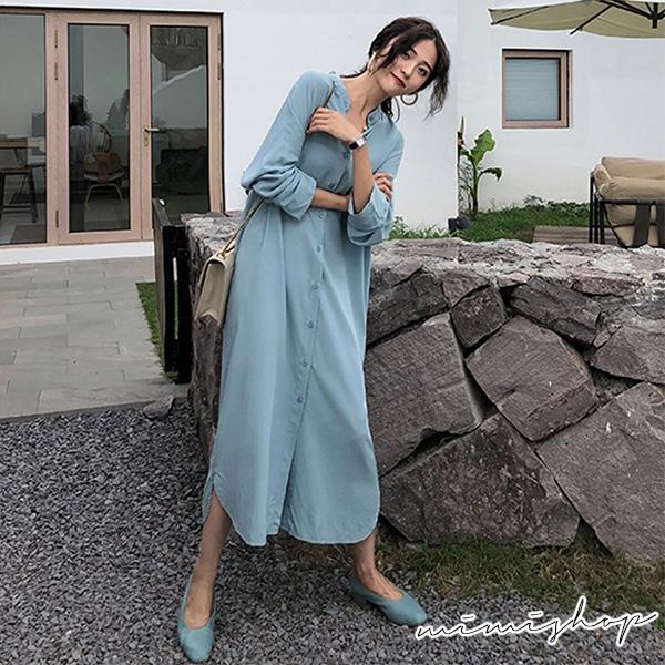 孕婦裝 MIMI別走【P521261】秋氛小清新 氣質立領開扣連身裙 長裙
