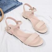 低跟涼鞋 涼鞋女2021年新款夏季氣質仙女風配裙子粗中跟低跟一字扣帶平底鞋 夏季新品