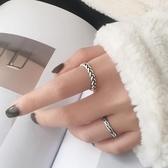 新品 s925銀麻花開口戒指簡約個性設計感復古泰銀潮流港風學生指環女