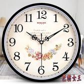 掛鐘 鐘表掛鐘客廳簡約時鐘靜音創意時尚掛表電子石英鐘 AW14674【花貓女王】