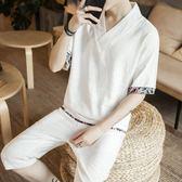 T恤套裝男士亞麻短袖褲子潮中國風V領棉麻拼接撞色半截袖短褲兩件 小時光生活館