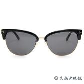 TOM FORD 墨鏡 TF368 (黑-金) 經典金屬T字標誌 太陽眼鏡 久必大眼鏡