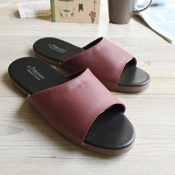 台灣製造-簡約系列-純色皮質室內拖鞋 - 紐約紅