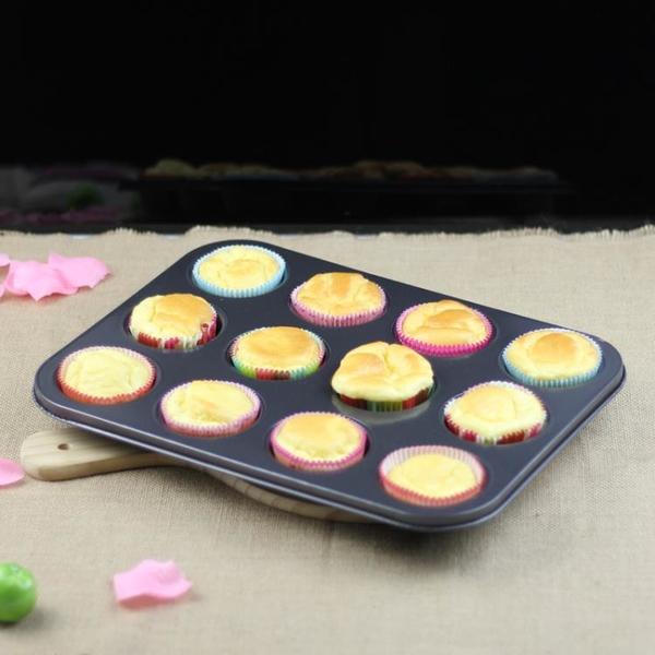 烘焙模具 糕點蛋糕模具 大號 鐵制超精不粘涂層12連蛋糕模 家用烤盤12平底模 送紙托2疊