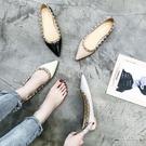 平底鞋 單鞋女歐美鉚釘尖頭淺口百搭平底鞋學生時尚懶人瓢鞋 - 古梵希鞋包