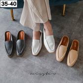 ★現貨★MIUSTAR時尚簡約皮料素面小方頭穆勒鞋(共3色,35-40)【NG002218】