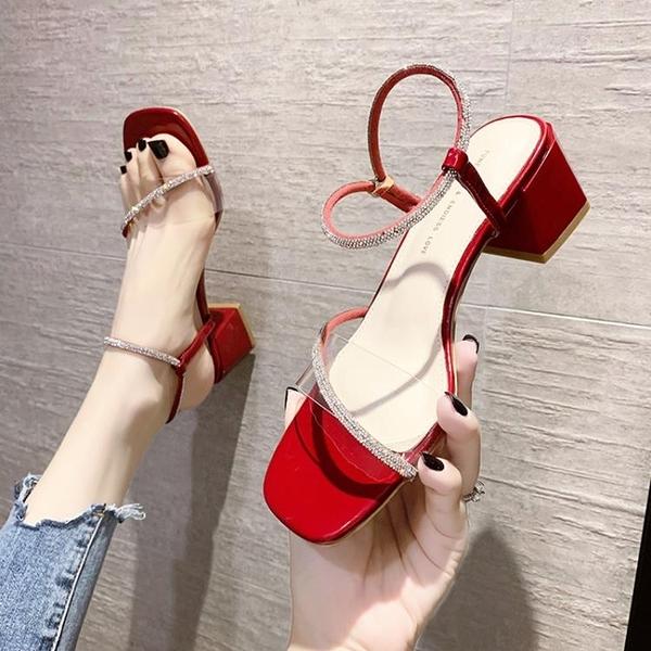 羅馬鞋 高跟鞋女粗跟2021年夏季新款百搭一字帶水鉆羅馬涼鞋女時裝仙女風 夢藝家
