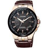【台南 時代鐘錶 CITIZEN】星辰 電波光動能 古典紳士品味時尚腕錶 CB0164-17E 皮帶 黑/金 42mm