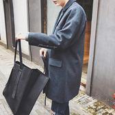 風衣 毛呢大衣男韓版青年寬鬆落肩中長款呢子外套男潮 莎瓦迪卡