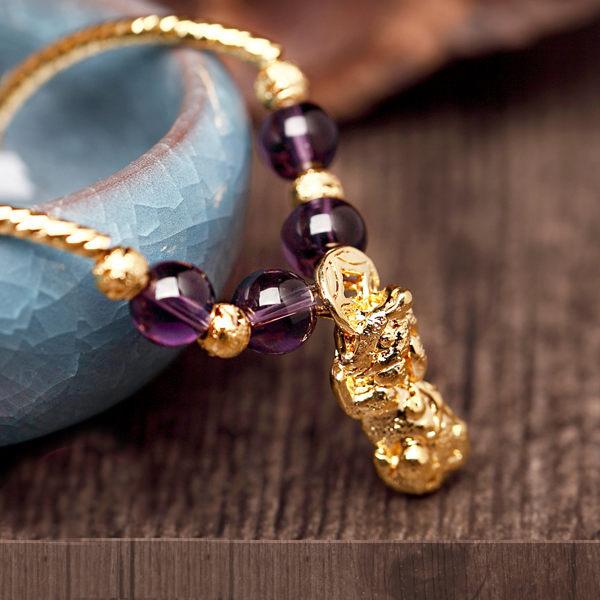 金光祥寶 紫水晶招財貴人貔貅手環-四款可選 含開光 臻觀璽世 IS0322