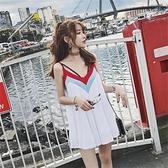 露背洋裝 小個子仙女超仙吊帶短裙泰國海灘裙寬鬆露背連身裙海邊度假沙灘裙-Ballet朵朵