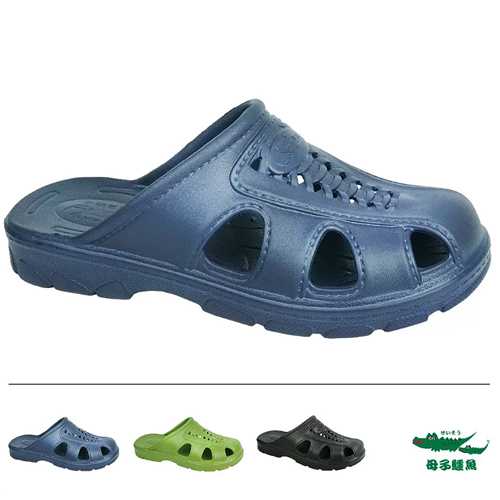 男款 母子鱷魚 MIT製造 復古懷舊福氣鞋防水防滑前包後空布希鞋洞洞鞋園丁鞋防水拖鞋BN5553 59鞋廊