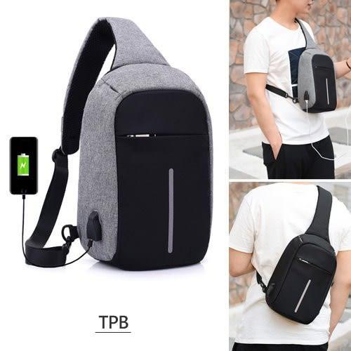 [ 潮流堂 ] 簡約防水前口袋斜胸包後背包支援USB充電防盜斜背包-6300