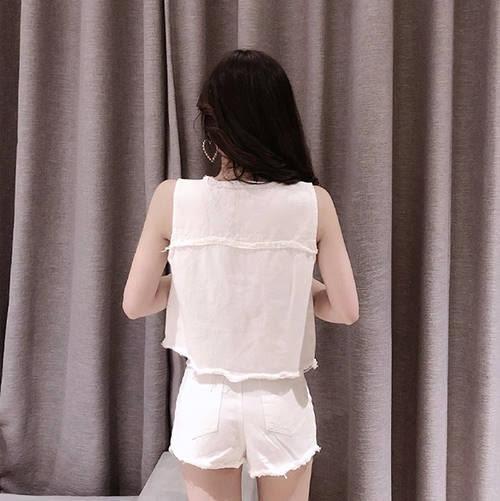 克妹Ke-Mei【AT51659】韓版!實拍!龐克五角星星馬甲+牛仔短褲套裝