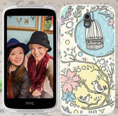 ♥ 俏魔女美人館 ♥ {花花鳥籠*立體浮雕水晶硬殼} HTC Desire 526G+手機殼 手機套 保護套