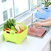 加厚塑料洗菜籃洗水果蔬菜籃廚房水槽洗菜盆清洗框水果瀝水籃子     汪喵百貨