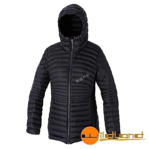 【wildland 荒野】女 700FP連帽輕羽絨衣『黑色』0A52111 羽絨外套│防風│保暖│防潑水│時尚女外套