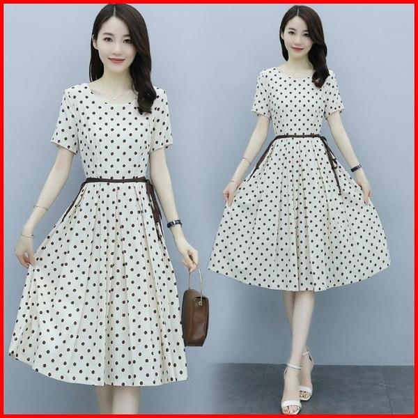 韓國風短袖洋裝 波點連衣裙女綁帶收腰顯瘦氣質雪紡連身裙 依多多