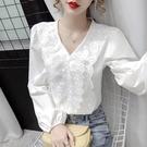 限時特價 蕾絲花邊V領白色襯衫女秋裝新款...