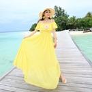 波希米亞長裙-露肩一字領純色優雅洋裝2色73sg52【巴黎精品】