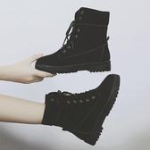 馬丁靴女新款秋冬英倫風平底繫帶短靴百搭學生高幫兩穿女靴子