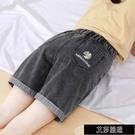 夏季小雛菊寬鬆 牛仔短褲女大碼薄款顯瘦黑色高腰五分褲a字胖【全館免運】